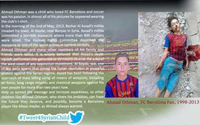 Captura de la campaña de Twitter contra la muerte de menores en la guerra de Siria.   Twitter