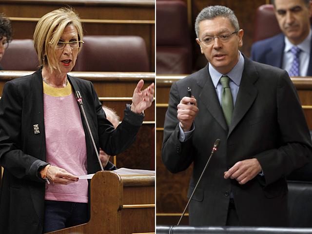 Rosa Díez y Alberto Ruiz-Gallardón en el Congreso de los Diputados.