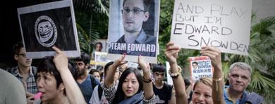 Protestas en apoyo a Snowden. | Reuters