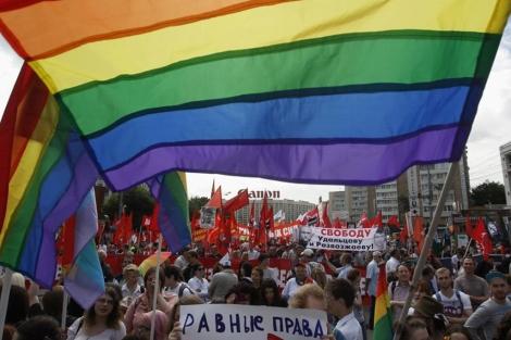 Una manifestación por los derechos LGTB en Moscú.| Reuters