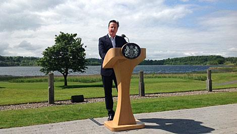 David Cameron, durante la rueda de prensa.  C. Fresneda.