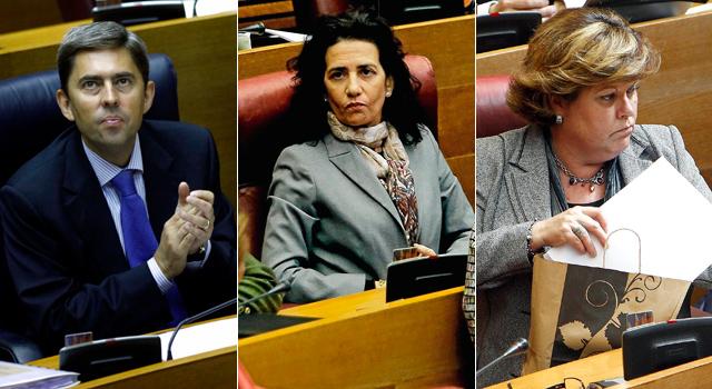 El ex vicepresidente Vicente Rambla, y las ex conselleras Milagrosa Martínez y Angélica Such.