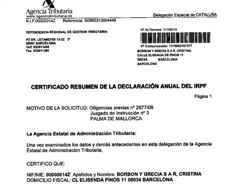 Documento de la AEAT con el DNI de la Infanta Cristina.
