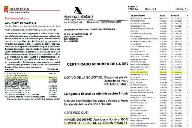 El DNI de la Infanta en el Boletín de Murcia, en un documento de Doña Cristina y en el B.O. de Albacete.