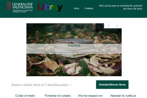 Página principal del portal 'Llibrey'.