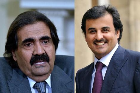 El emir de Qatar (izda.) y el príncipe heredero. | Afp
