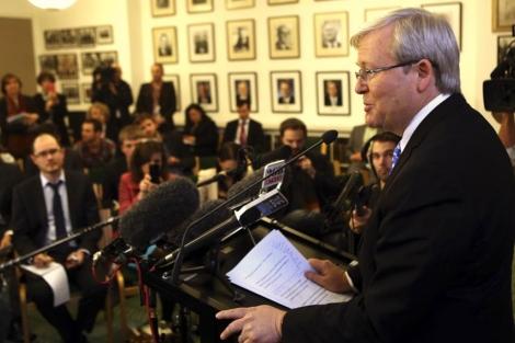 Kevin Rudd, en una rueda de prensa en Camberra.| Reuters