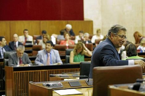 Zoido, con el gobierno andaluz al fondo, en el Parlamento. | E. Lobato