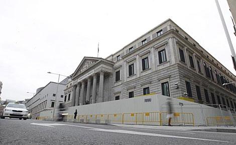 Exterior del Congreso de los Diputados, en Madrid