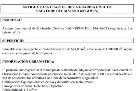 Pliego de oferta de inmuebles de una casa cuartel en Segovia, disponible en el GIESE.   E. M.