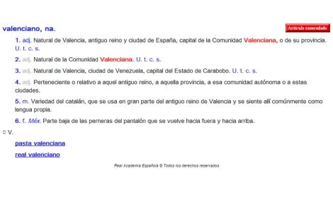 Definición de valenciano en la página web de la RAE.