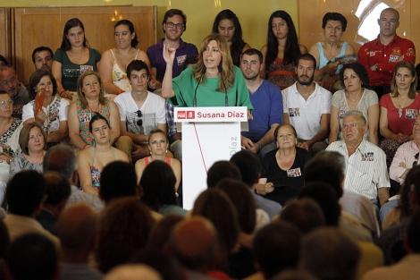 Susana Díaz, durante su intervención en Antequera.   Carlos Díaz
