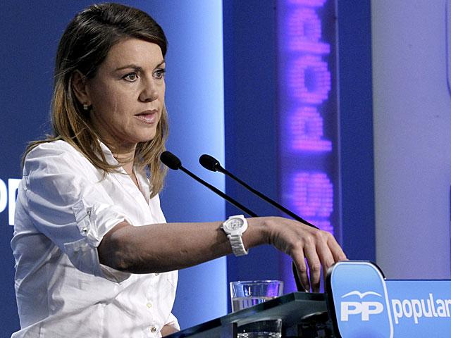 María Dolores de Cospedal, durante su comparecencia ante los periodistas. | Zipi / Efe