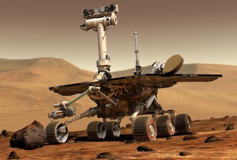 Recreación del vehículo robótico 'Opportunity'.  NASA