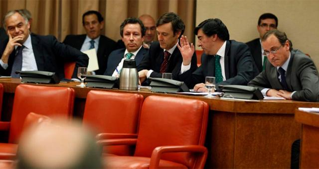 El grupo 'popular', ayer en la Diputación permanente en el Congreso. | Javier Barbancho