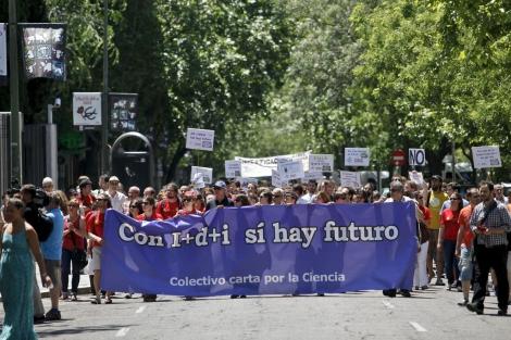 Protesta con los recortes en I+D el pasado 14 de junio en Madrid. | Sergio Enríquez-Nistal