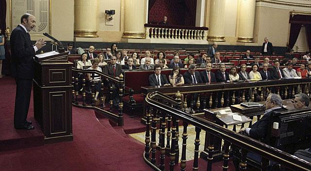 Alfredo Pérez Rubalcaba, en su intervención ante el Grupo Parlamentario Socialista. | Paco Campos / Efe