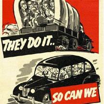 Cartel publicitario para compartir coche en EEUU durante la II Guerra Mundial