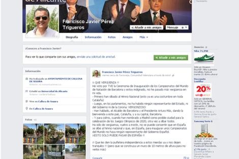 Captura de pantalla del Facebook del alcalde de Callosa. | E.M.