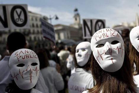 Manifestación en contra de la privatización sanitaria. | E.M.