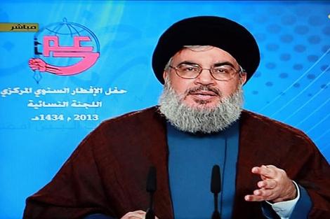 El líder de Hizbulá, Hasán Nasrala, durante su alocución. | Efe