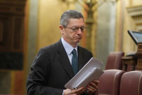 Gallardón, el pasado 13 de junio, tras defender su modelo de custodia compartida en el Congreso.   J. Aymá