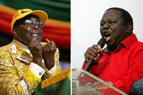 El presidente Robert Mugabe y el 'premier' Morgan Tsvangirai.   Afp
