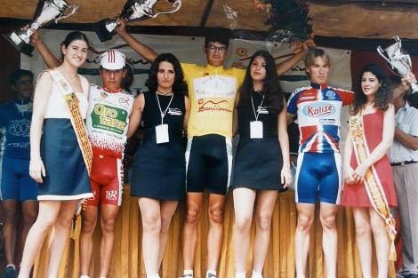 'Purito' Rodríguez, en el cajón en 1997 con el maillot del Orotana.