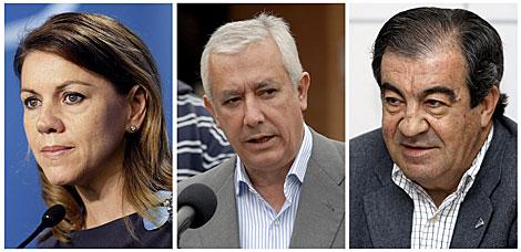 María Dolores de Cospedal, Javier Arenas y Francisco Álvarez-Cascos. | Efe