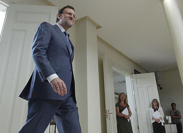 El presidente del Gobierno, Mariano Rajoy, en un acto en Moncloa este martes.   Carlos Barajas