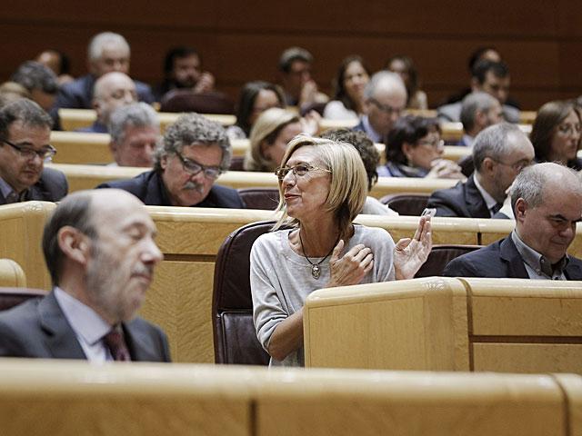 La portavoz de UPyD, Rosa Díez, durante la comparecencia del presidente. | Emilio Naranjo/Efe