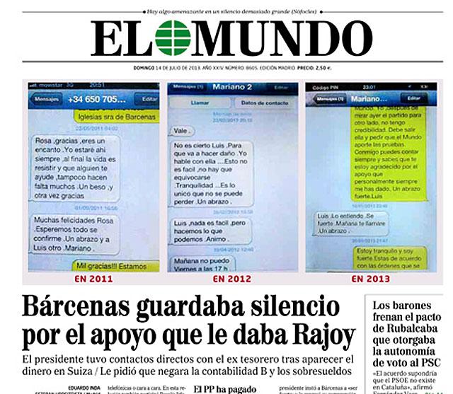 La portada de EL MUNDO del 14 de julio con el cruce de SMS entre Rajoy y Bárcenas.