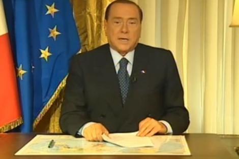 Silvio Berlusconi durante el mensaje televisivo.