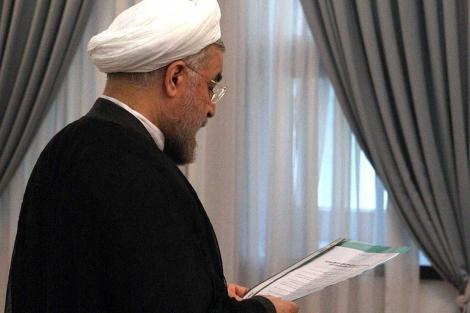 Hasan Rohani, durante la jura de su cargo como presidente de Irán.   Efe