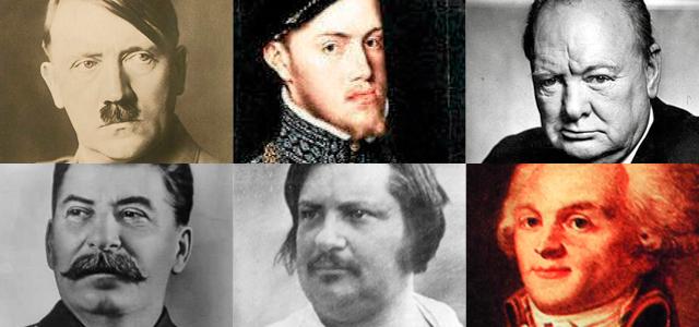 Hitler, Felipe II, Winston Churchill, Iósif Stalin, Honoré de Balzac y Maximilien Robespierre. | E.M.