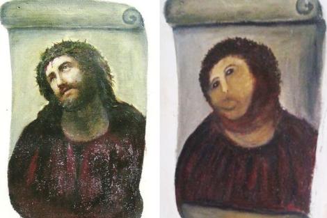 El cuadro, antes y después de la 'restauración' de Cecilia Giménez.
