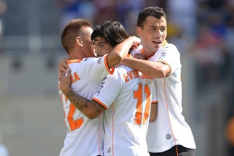 Los jugadores del Valencia celebran un gol esta pretemporada. | AFP