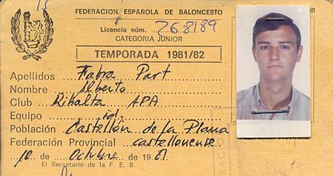 Carné federativo de Alberto Fabra, como alero del APA Ribalta de Castellón.