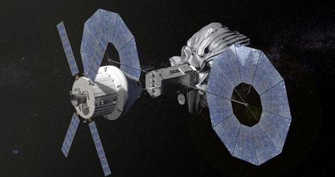 La nave 'Orion', en la que irían los astronautas, se acopla al vehículo robótico que capturará el asteroide.| NASA
