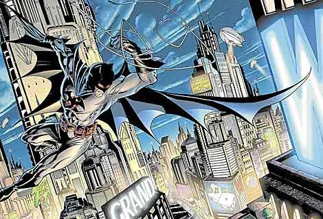 Imagen del personaje de cómic, Batman, en acción.