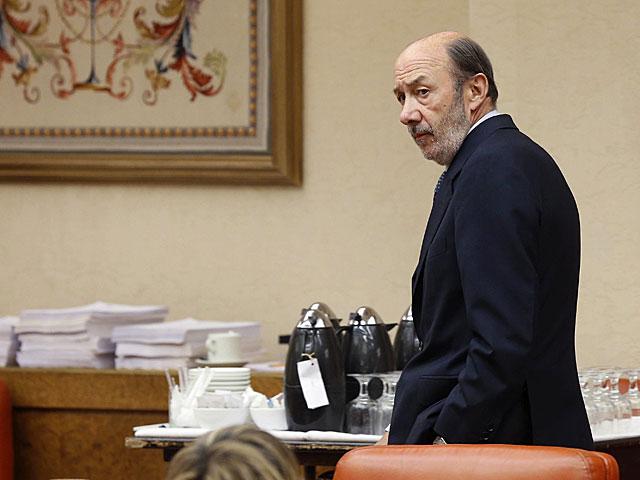 El secretario general del PSOE, Alfredo Pérez Rubalcaba, hoy en la Diputación Permanente.   Chema Moya / Efe