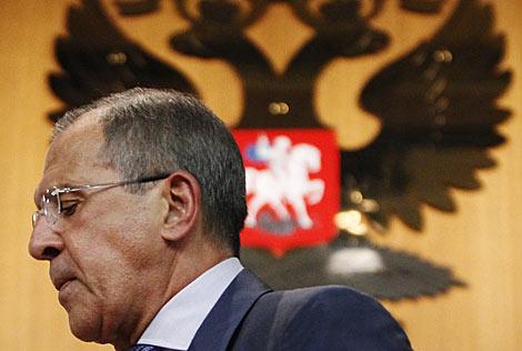 El ministro de Exteriores ruso, Sergei Lavrov, tras hablar de Siria. | Reuters