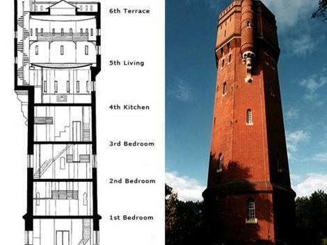 Plano e imagen de la Munstead Tower en Inglaterra.