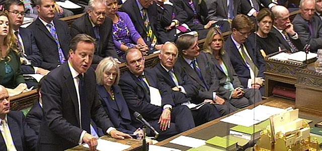 David Cameron interviene en el Parlamento sobre la cuestión siria.   Efe