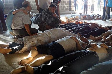 Cuerpos sin vida tras el último ataque con armas químicas.