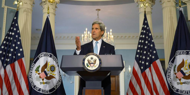 El secretario de Estado de EEUU durante las declaraciones sobre Siria el 30 de agosto.   Efe