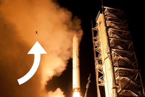 La rana captada durante el lanzamiento del cohete de la misión LADEE. | NASA/Wallops