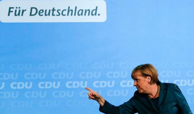 La canciller alemana, durante el acto de campaña en Postdam. | Reuters