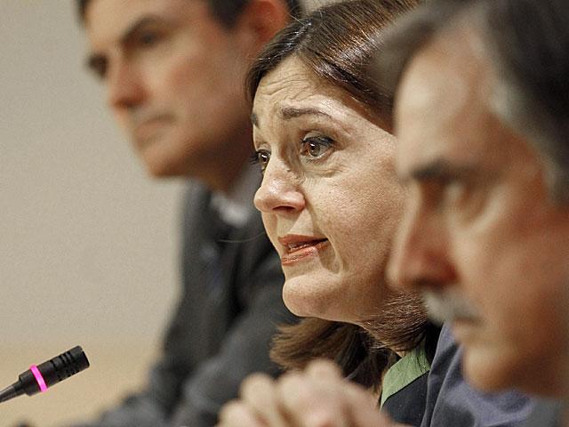 Rueda de prensa de Soraya Rodríguez en el Congreso. | Foto: Efe / J.J.Guillen.