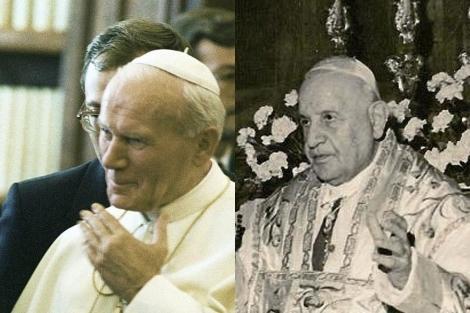 Juan Pablo II (izda.) y Juan XXIII.